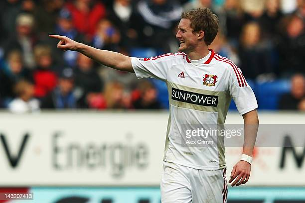Andre Schuerrle of Leverkusen celebrates his team's first goal during the Bundesliga match between 1899 Hoffenheim and Bayer 04 Leverkusen at...