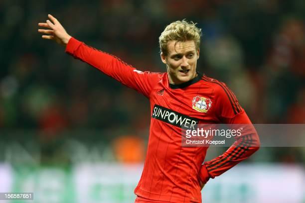 Andre Schuerrle of Leverkusen celebrates the first goal during the Bundesliga match between Bayer 04 Leverkusen and FC Schalke 04 at BayArena on...