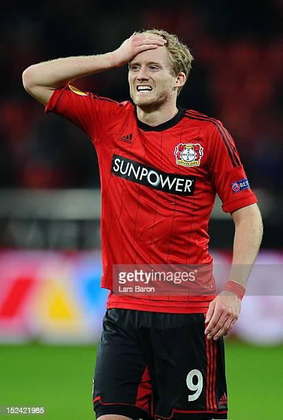 Andre Schuerrle of Leverkusen looks dejected during the UEFA Europa League group K match between Bayer Leverkusen and FC Metalist Kharkiv at BayArena...