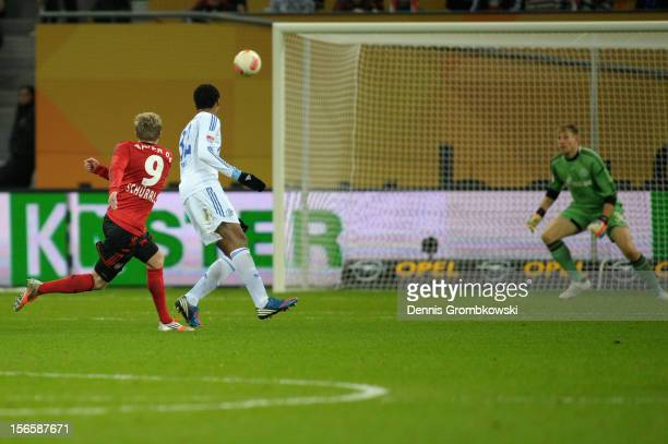 Andre Schuerrle of Leverkusen scores his team's first goal during the Bundesliga match between Bayer 04 Leverkusen and FC Schalke 04 at BayArena on...