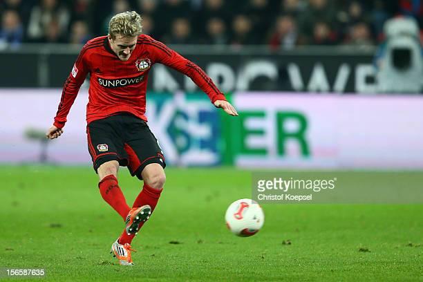Andre Schuerrle of Leverkusen scores the first goal during the Bundesliga match between Bayer 04 Leverkusen and FC Schalke 04 at BayArena on November...