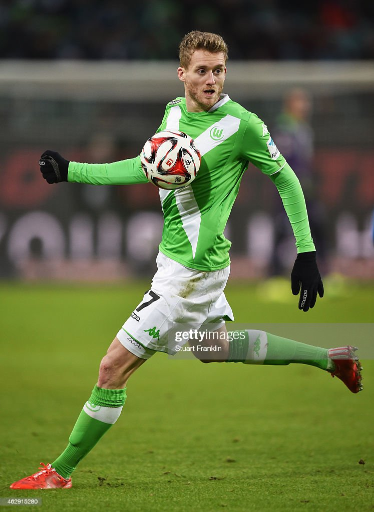 Andre Schuerrle of Wolfsburg in action on his debut during the Bundesliga match between VfL Wolfsburg and 1899 Hoffenheim at Volkswagen Arena on February 7, 2015 in Wolfsburg, Germany.