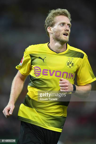 Andre Schurrle of Borussia Dortmund celebrates after scoring a goal during the preseason friendly match between Urawa Red Diamonds and Borussia...