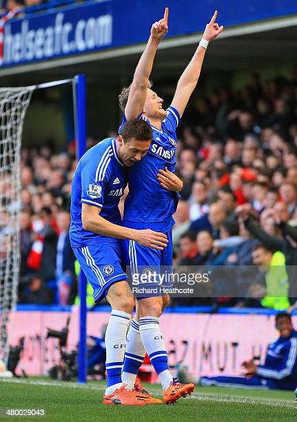Andre Schurrle of Chelsea celebrates scoring his second goal with Nemanja Matic of Chelsea during the Barclays Premier League match between Chelsea...