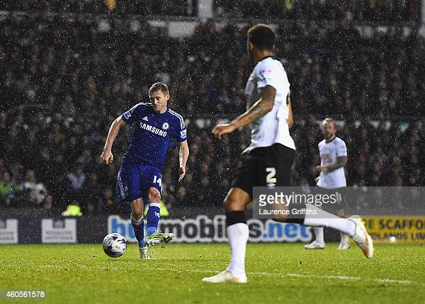 Andre Schurrle of Chelsea scores his goal during the Capital One Cup Quarter-Final match between Derby County and Chelsea at Pride Park Stadium on...