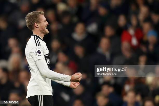 Andre Schurrle of Fulham celebrates after scoring his team's second goal during the Premier League match between Fulham FC and Southampton FC at...