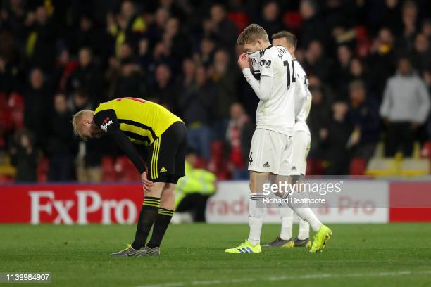 Andre Schurrle of Fulham looks dejected as his team are relegated due to the result in the Premier League match between Watford FC and Fulham FC at...