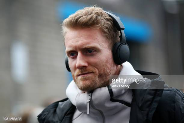 Andre Schurrle of Fulham looks on as he arrives at the stadium prior to the Premier League match between Burnley FC and Fulham FC at Turf Moor on...