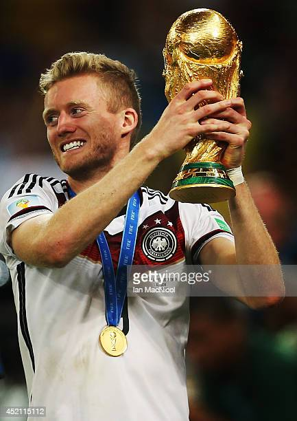 Andre Schurrle of Germany celebrates during the 2014 World Cup final match between Germany and Argentina at The Maracana Stadium on July 13 2014 in...