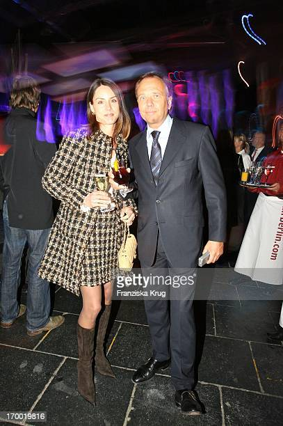 "Andre Selleneit With His wife Michaela at ""Fly Into The Sunshine"" Air Berlin media meeting in Hangar 2 In the Event Center Tempelhof Airport in..."