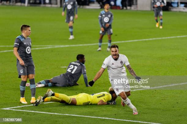 Andre Shinyashiki of Colorado Rapids celebrates his goal during a game between Colorado Rapids and Minnesota United FC at Allianz Field on October...