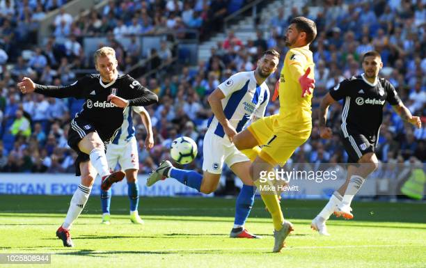 Andre Shurrle of Fulham scores his team's first goal during the Premier League match between Brighton Hove Albion and Fulham FC at American Express...