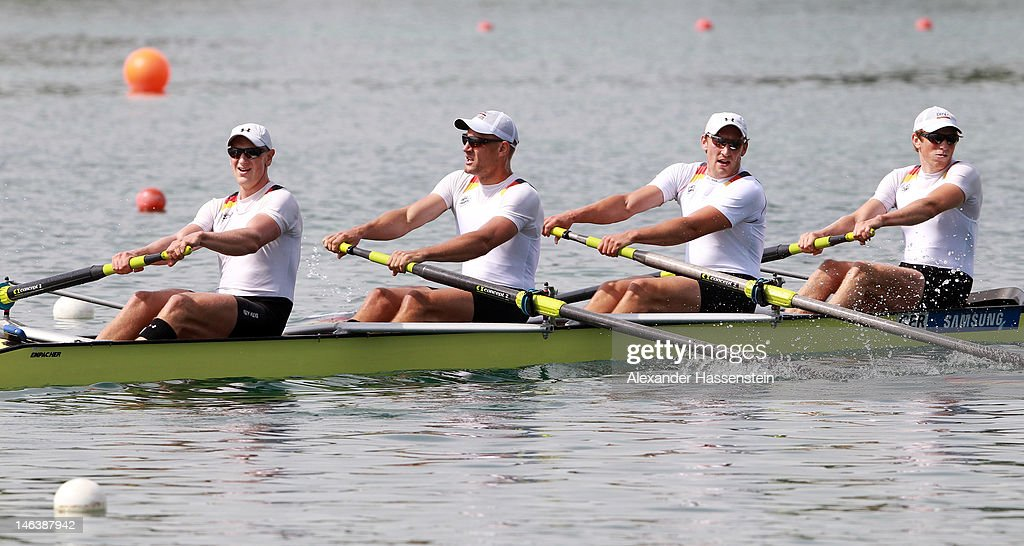 Andre Sieber, Philipp Naruhn, Rene Bertram and Florian Eichner of Germany compete in the Mens`s Four heat during the 2012 Samsung World Rowing Cup III at the Ruderregattastrecke on June 15, 2012 in Munich, Germany.