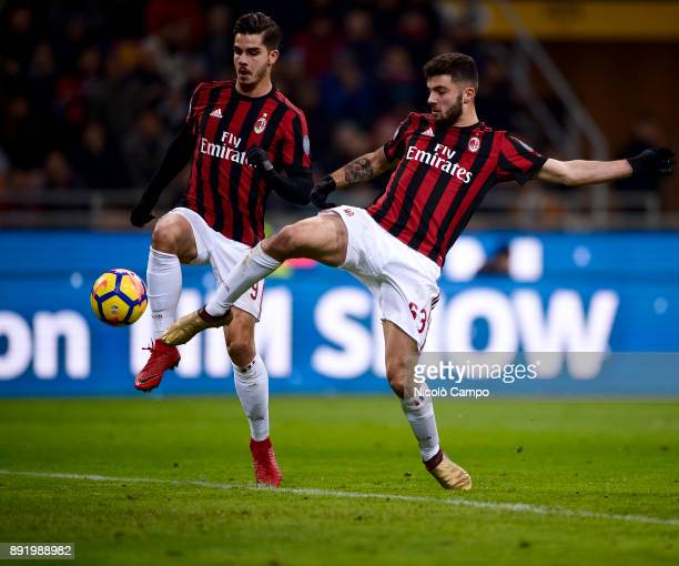 Andre Silva and Patrick Cutrone of AC Milan in action during the TIM Cup football match between AC Milan and Hellas Verona AC Milan won 30 over...