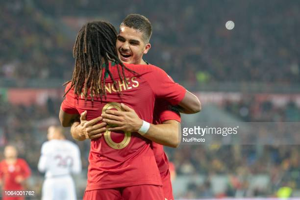 Andre Silva and Renato Sanchez of Portugal celebrate scoring during the UEFA Nations League A Group 3 match between Portugal and Poland at Estadio D...