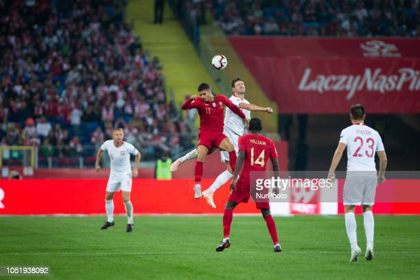 Andre Silva Grzegorz Krychowiak William Carvalho during the UEFA Nations League A soccer match between Poland and Portugal at Silesian Stadium in...