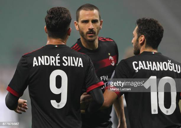 Andre Silva of AC Milan celebrates his goal with his teammates Leonardo Bonucci and Hakan Calhanoglu during the UEFA Europa League group D match...