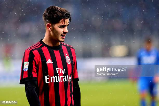 Andre Silva of Ac Milan during the Serie A football match between AC Milan and Bologna Fc Ac Milan wins 21 over Bologna Fc