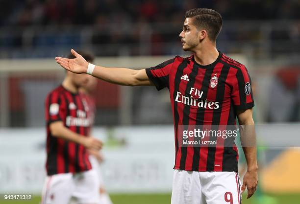 Andre Silva of AC Milan gestures during the serie A match between AC Milan and US Sassuolo at Stadio Giuseppe Meazza on April 8 2018 in Milan Italy