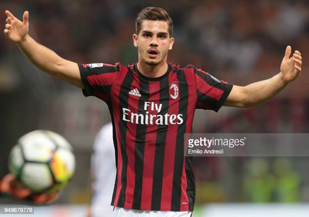 Andre Silva of AC Milan gestures during the serie A match between AC Milan and Benevento Calcio at Stadio Giuseppe Meazza on April 21 2018 in Milan...