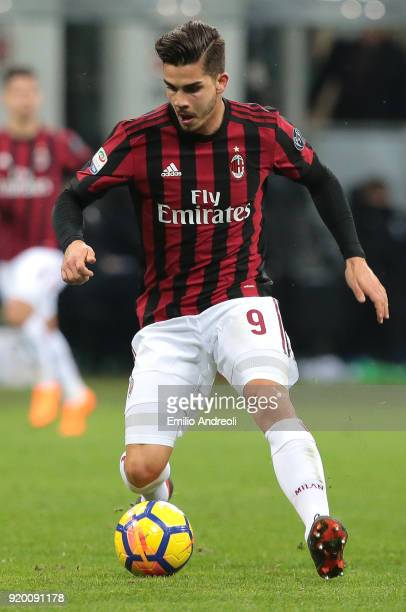 Andre Silva of AC Milan in action during the serie A match between AC Milan and UC Sampdoria at Stadio Giuseppe Meazza on February 18 2018 in Milan...