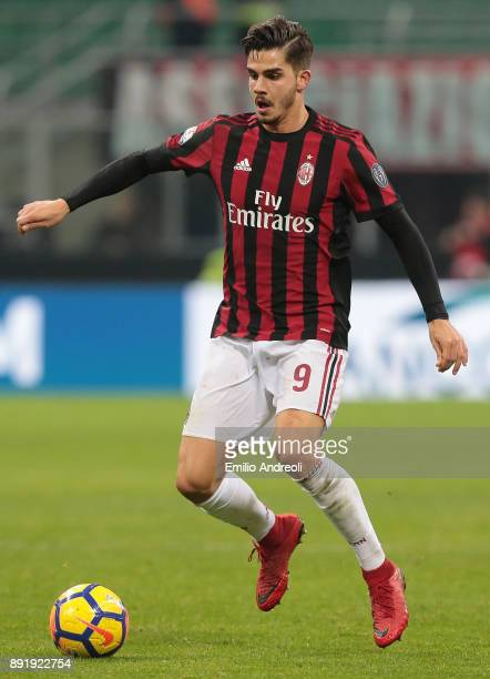 Andre Silva of AC Milan in action during the Tim Cup match between AC Milan and Hellas Verona FC at Stadio Giuseppe Meazza on December 13 2017 in...