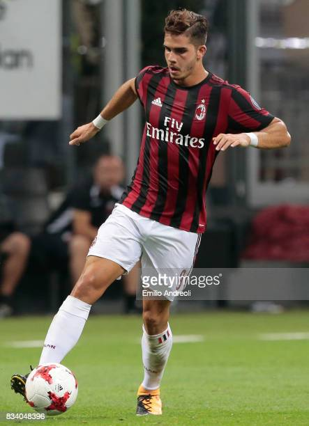Andre Silva of AC Milan in action during the UEFA Europa League Qualifying PlayOffs round first leg match between AC Milan and KF Shkendija 79 at...