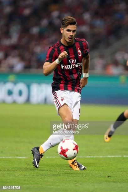 Andre Silva of Ac Milan in action during the UEFA Europa League Qualifying PlayOffs round first leg match between AC Milan and KF Shkendija AC Milan...