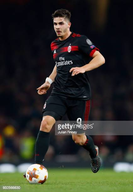 Andre Silva of AC Milan in action during the UEFA Europa League Round of 16 match between Arsenal and AC Milan at Emirates Stadium on March 15 2018...