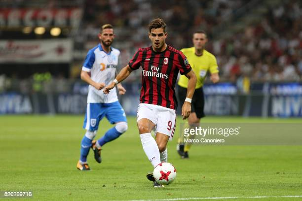 Andre Silva of Ac Milan in action during the UEFA Europa League Third Qualifying Round Second Leg match between AC Milan and CSU Craiova AC Milan won...
