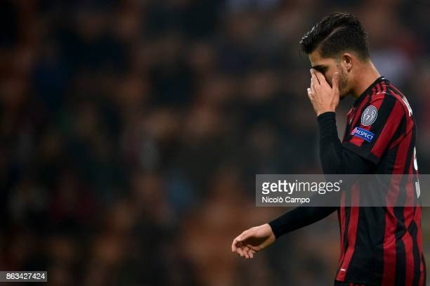 Andre Silva of AC Milan looks dejected during the UEFA Europa League football match between AC Milan and AEK Athens The match ended in a 00 draw