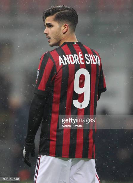Andre Silva of AC Milan looks on during the Serie A match between AC Milan and Bologna FC at Stadio Giuseppe Meazza on December 10 2017 in Milan Italy