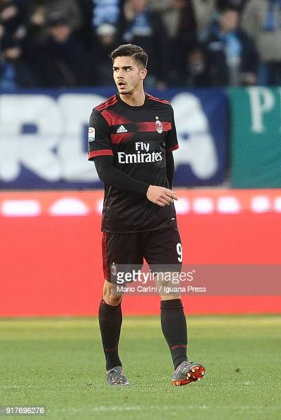 Andre Silva of AC Milan looks on during the serie A match between Spal and AC Milan at Stadio Paolo Mazza on February 10 2018 in Ferrara Italy