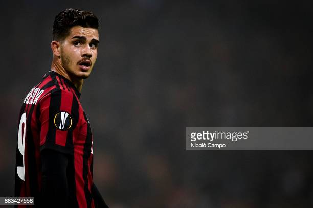 Andre Silva of AC Milan looks on during the UEFA Europa League football match between AC Milan and AEK Athens The match ended in a 00 draw