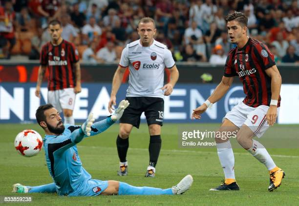 Andre Silva of AC Milan scores his second goal during the UEFA Europa League Qualifying PlayOffs round first leg match between AC Milan and KF...