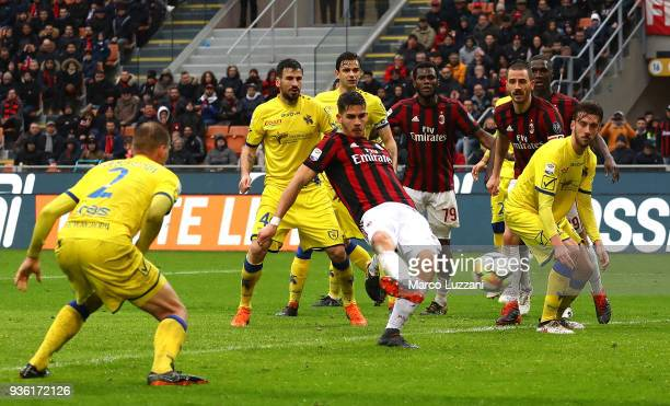 Andre Silva of AC Milan scores the third goal of his team during the serie A match between AC Milan and AC Chievo Verona at Stadio Giuseppe Meazza on...