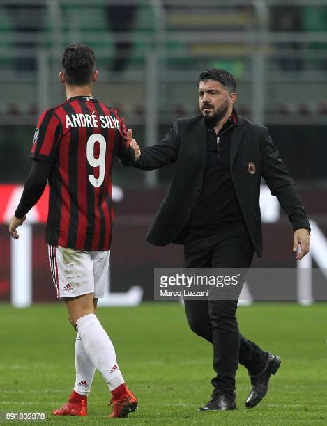 Andre Silva of AC Milan shakes hands with AC Milan coach Gennaro Gattuso at the end of the Tim Cup match between AC Milan and Hellas Verona FC at...