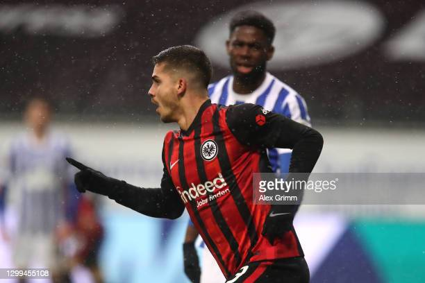 Andre Silva of Eintracht Frankfurt celebrates after scoring his team's first goal during the Bundesliga match between Eintracht Frankfurt and Hertha...