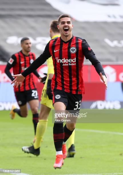 Andre Silva of Eintracht Frankfurt celebrates after scoring their team's first goal during the Bundesliga match between Eintracht Frankfurt and 1. FC...