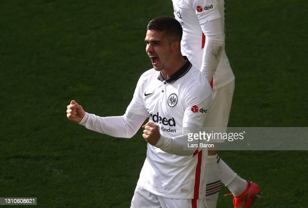 Andre Silva of Eintracht Frankfurt celebrates after scoring their side's second goal as during the Bundesliga match between Borussia Dortmund and...