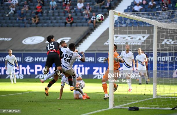 Andre Silva of Eintracht Frankfurt scores his team's first goal during the Bundesliga match between Eintracht Frankfurt and DSC Arminia Bielefeld at...