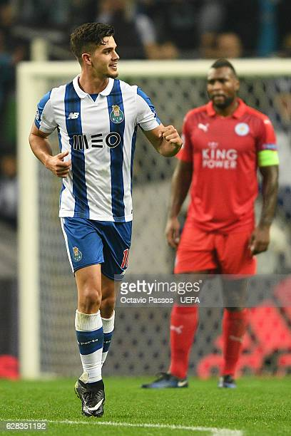 Andre Silva of FC Porto celebrates after scores the fourth goal against Leicester City during the UEFA Champions League match between FC Porto and...