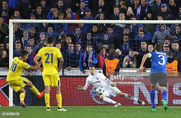 Andre Silva of FC Porto converts the penalty to score his team's second goal during the UEFA Champions League Group G match between Club Brugge KV...