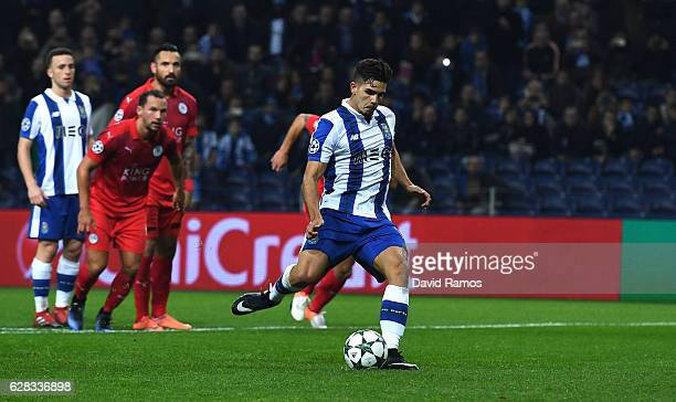 Andre Silva of FC Porto scores his sides fourth goal from the penalty spot during the UEFA Champions League Group G match between FC Porto and...