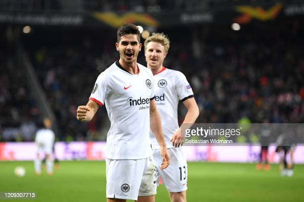 Andre Silva of Frankfurt celebrates scoring his sides second goal during the UEFA Europa League round of 32 second leg match between RB Salzburg and...