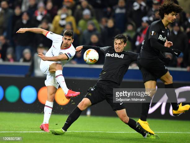 Andre Silva of Frankfurt scores his sides second goal during the UEFA Europa League round of 32 second leg match between RB Salzburg and Eintracht...