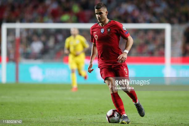 Andre Silva of Portugal and Sevilla FC in action during the UEFA Euro 2020 Qualifier match between Portugal and Ukraine at Estadio da Luz on March 22...