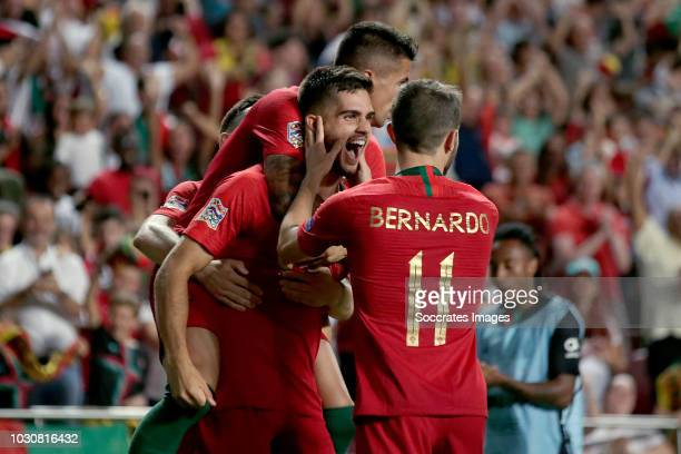 Andre Silva of Portugal celebrates 10 with Joao Cancelo of Portugal Bernardo Silva of Portugal during the UEFA Nations league match between Portugal...