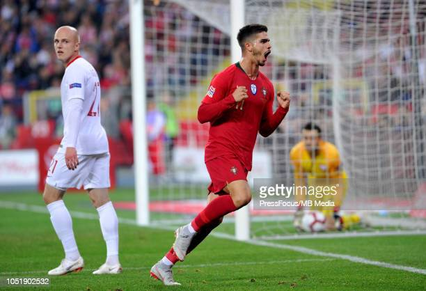 Andre Silva of Portugal celebrates after scoring a goal during the UEFA Nations League A group three match between Poland and Portugal at Silesian...