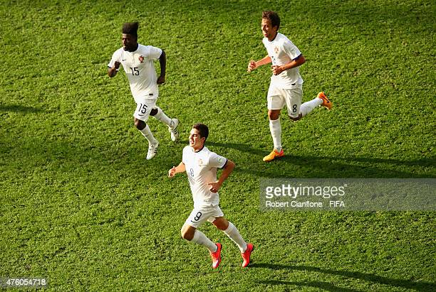 Andre Silva of Portugal celebrates after scoring a goal during the FIFA U20 World Cup New Zealand 2015 Group C match between Colombia and Portugal at...